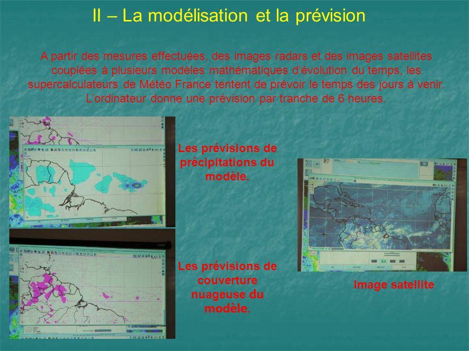 II – La modélisation et la prévision A partir des mesures effectuées, des images radars et des images satellites couplées à plusieurs modèles mathémat