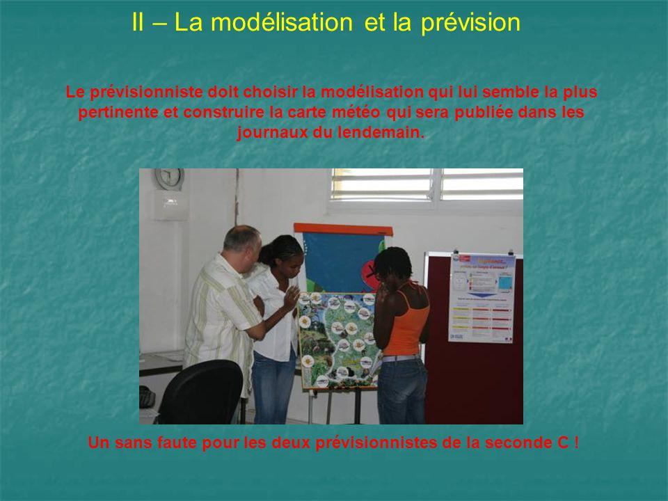II – La modélisation et la prévision Le prévisionniste doit choisir la modélisation qui lui semble la plus pertinente et construire la carte météo qui