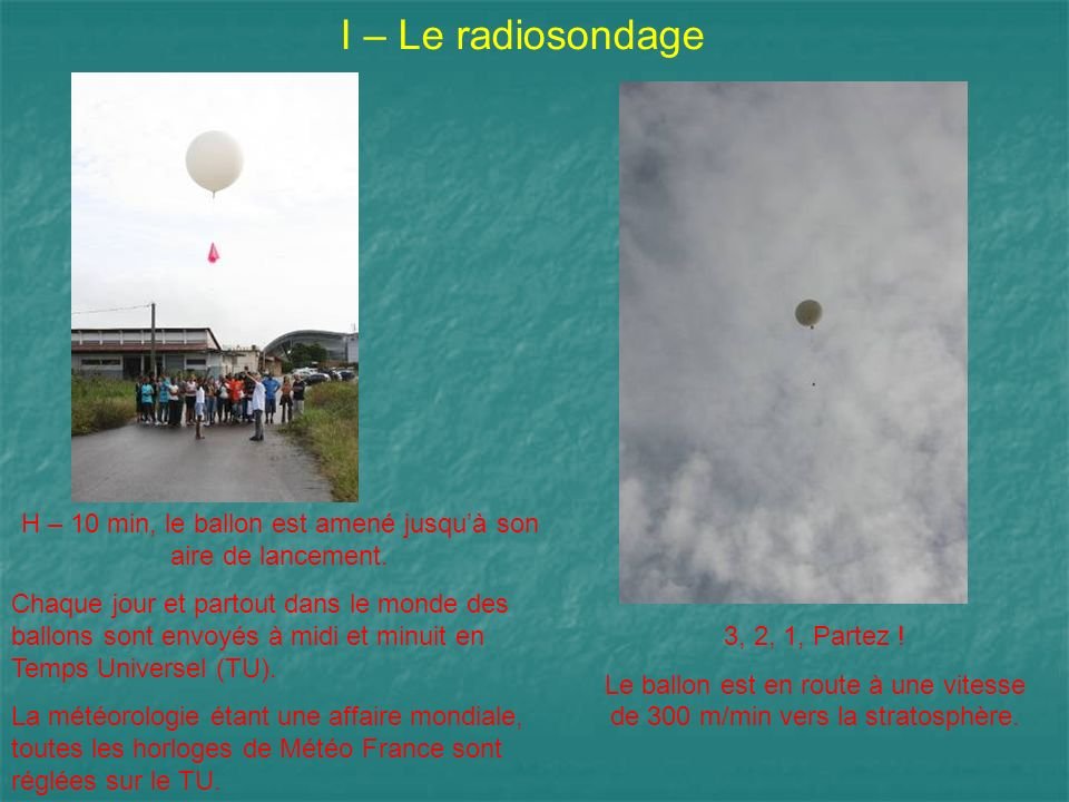 I – Le radiosondage H – 10 min, le ballon est amené jusquà son aire de lancement. Chaque jour et partout dans le monde des ballons sont envoyés à midi
