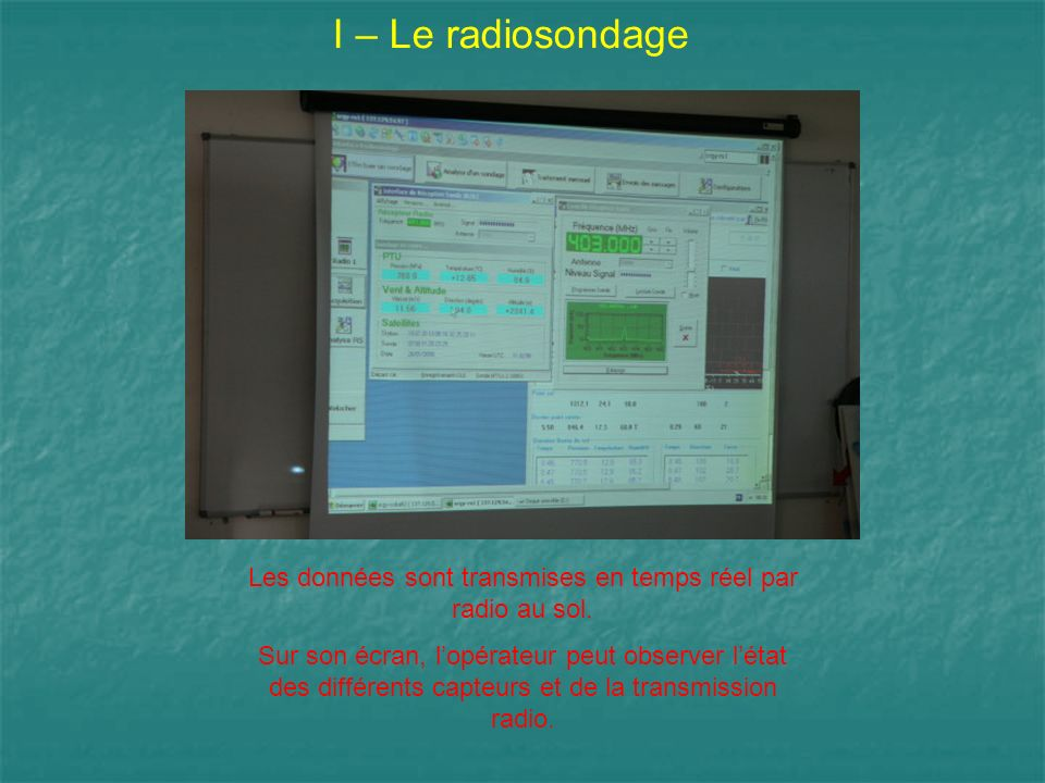 I – Le radiosondage Les données sont transmises en temps réel par radio au sol. Sur son écran, lopérateur peut observer létat des différents capteurs