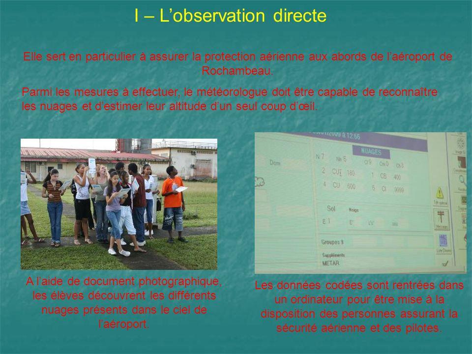 I – Lobservation directe Elle sert en particulier à assurer la protection aérienne aux abords de laéroport de Rochambeau. Parmi les mesures à effectue