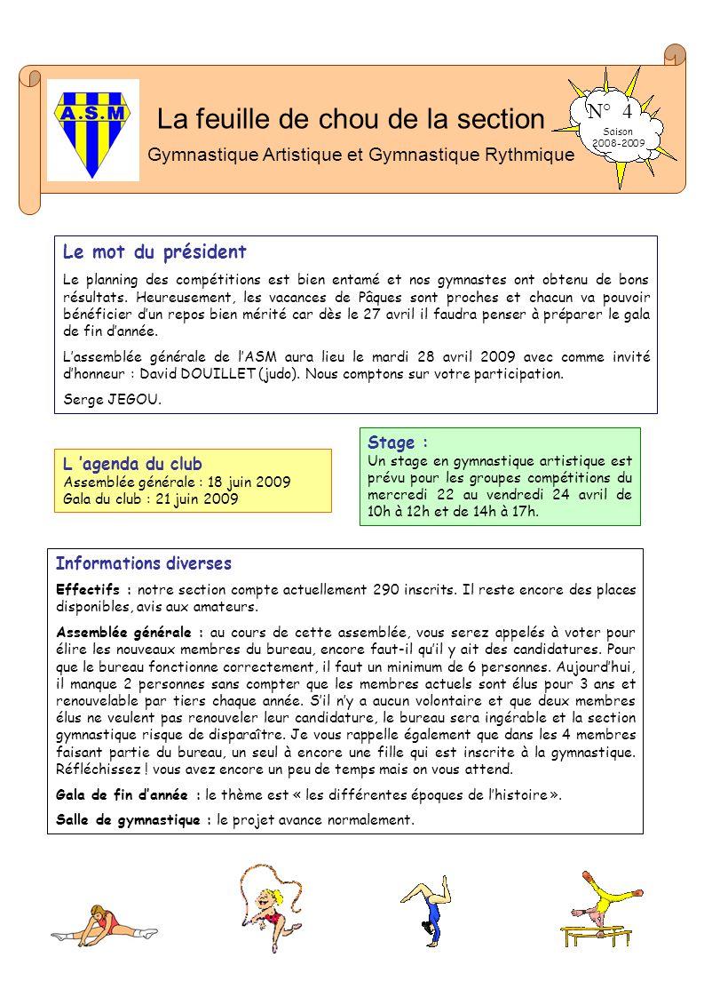 La feuille de chou de la section Gymnastique Artistique et Gymnastique Rythmique N° 4 Saison 2008-2009 Le mot du président Le planning des compétition