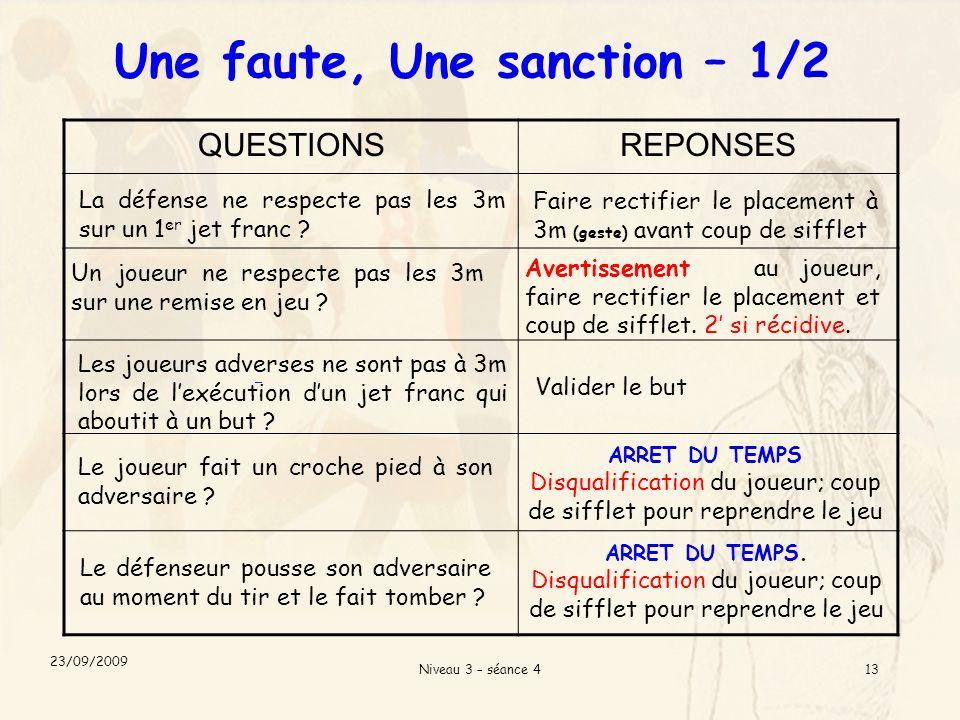 Niveau 3 – séance 413 QUESTIONSREPONSES La défense ne respecte pas les 3m sur un 1 er jet franc .