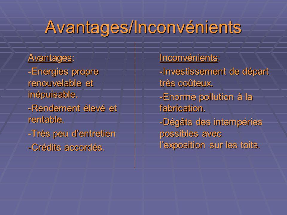 Avantages/Inconvénients Avantages: -Energies propre renouvelable et inépuisable.