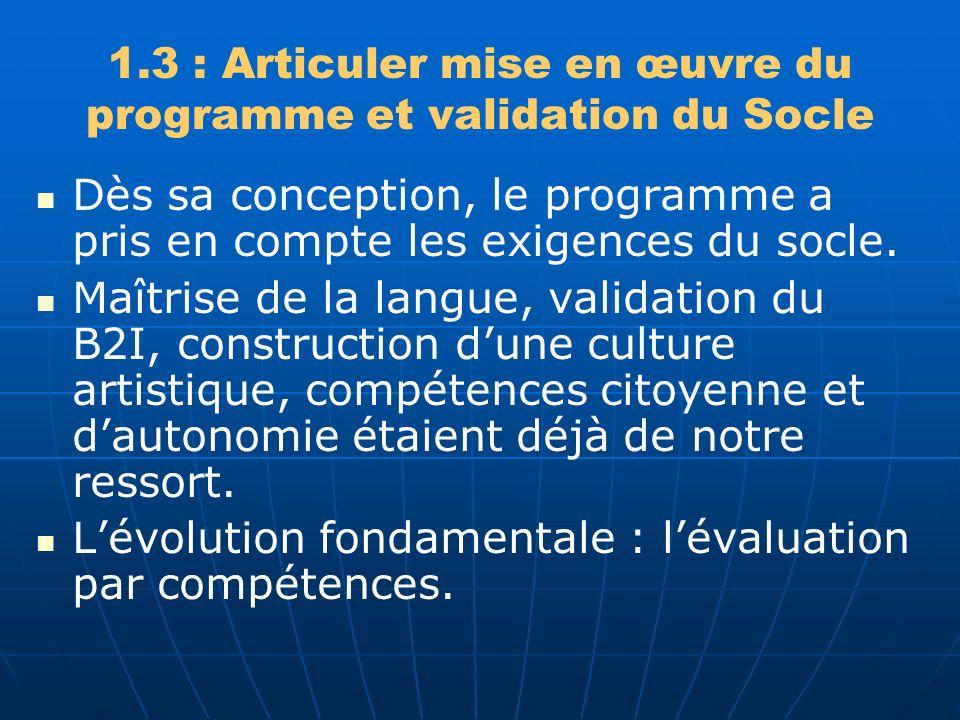 1.3 : Articuler mise en œuvre du programme et validation du Socle Dès sa conception, le programme a pris en compte les exigences du socle.