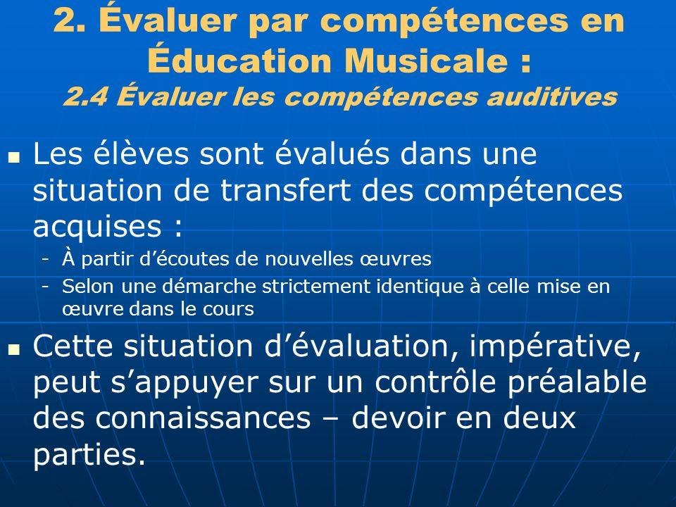 2. Évaluer par compétences en Éducation Musicale : 2.4 Évaluer les compétences auditives Les élèves sont évalués dans une situation de transfert des c