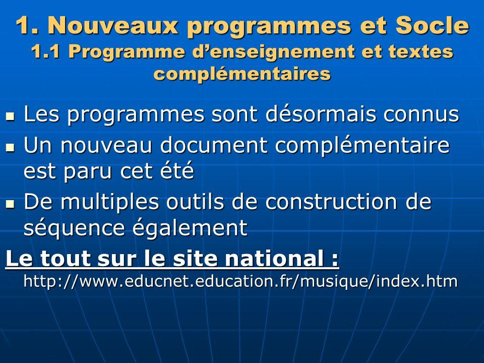 1. Nouveaux programmes et Socle 1.1 Programme denseignement et textes complémentaires Les programmes sont désormais connus Les programmes sont désorma