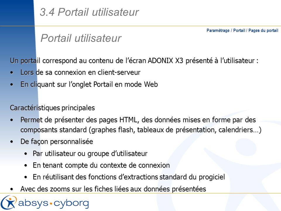 Portail utilisateur Paramétrage / Portail / Pages du portail Un portail correspond au contenu de lécran ADONIX X3 présenté à lutilisateur : Lors de sa