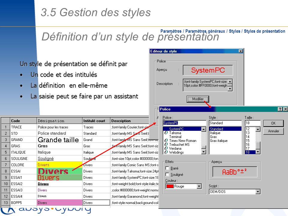 Définition dun style de présentation Paramètres / Paramètres généraux / Styles / Styles de présentation Un style de présentation se définit par Un cod