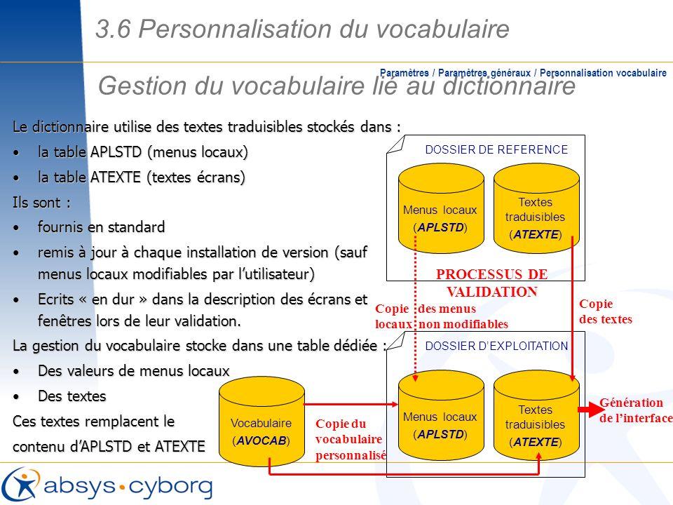 Gestion du vocabulaire lié au dictionnaire Paramètres / Paramètres généraux / Personnalisation vocabulaire Le dictionnaire utilise des textes traduisi