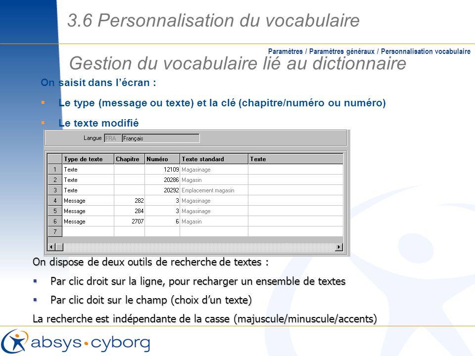 On saisit dans lécran : Le type (message ou texte) et la clé (chapitre/numéro ou numéro) Le texte modifié Gestion du vocabulaire lié au dictionnaire P