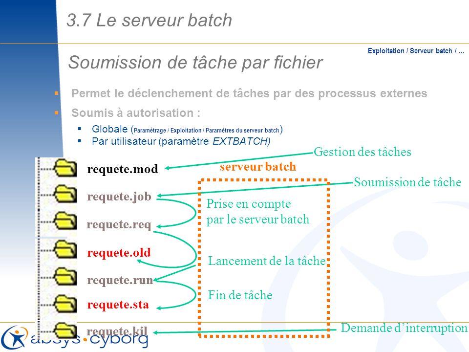 requete.kil Soumission de tâche par fichier Exploitation / Serveur batch / … requete.run requete.sta requete.kil Prise en compte par le serveur batch