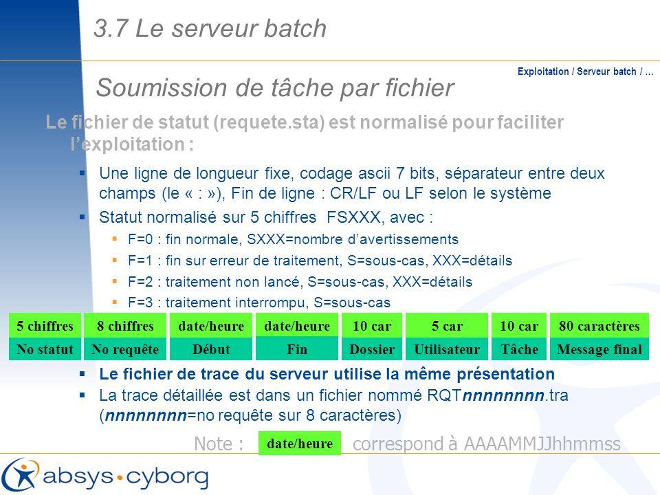 Soumission de tâche par fichier Exploitation / Serveur batch / … No statutNo requêteDébut 5 chiffres8 chiffresdate/heure Dossier 10 car Utilisateur 5