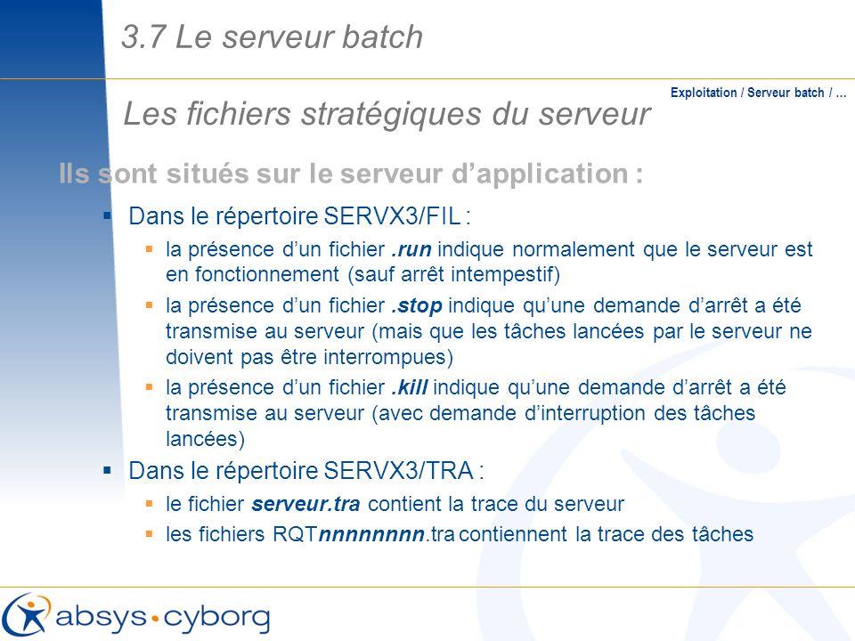Les fichiers stratégiques du serveur Exploitation / Serveur batch / … Ils sont situés sur le serveur dapplication : Dans le répertoire SERVX3/FIL : la