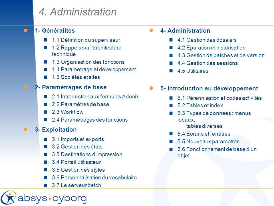 4. Administration 1- Généralités 1.1 Définition du superviseur 1.2 Rappels sur larchitecture technique 1.3 Organisation des fonctions 1.4 Paramétrage