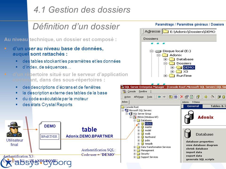 Définition dun dossier Paramétrage / Paramètres généraux / Dossiers Au niveau technique, un dossier est composé : dun user au niveau base de données,
