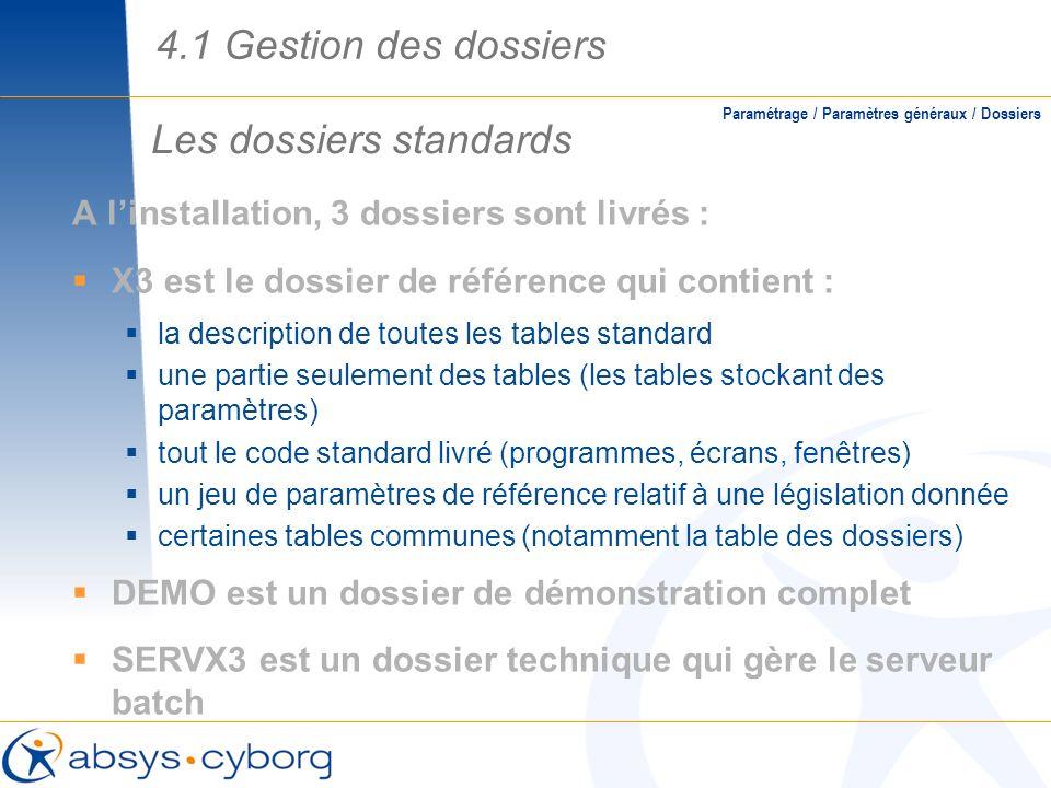 Les dossiers standards Paramétrage / Paramètres généraux / Dossiers A linstallation, 3 dossiers sont livrés : X3 est le dossier de référence qui conti