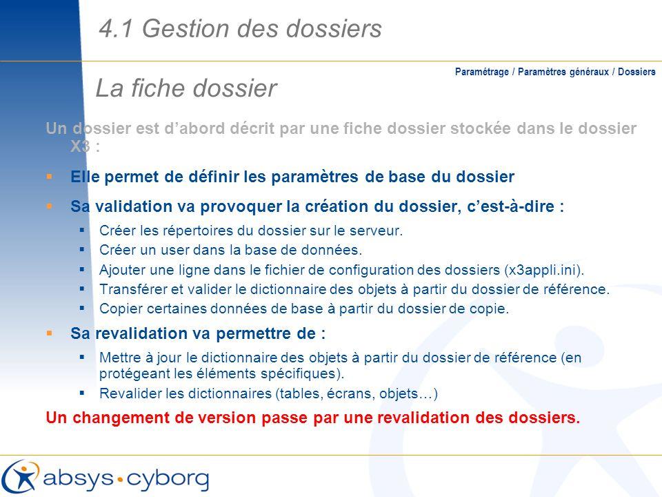 La fiche dossier Paramétrage / Paramètres généraux / Dossiers Un dossier est dabord décrit par une fiche dossier stockée dans le dossier X3 : Elle per