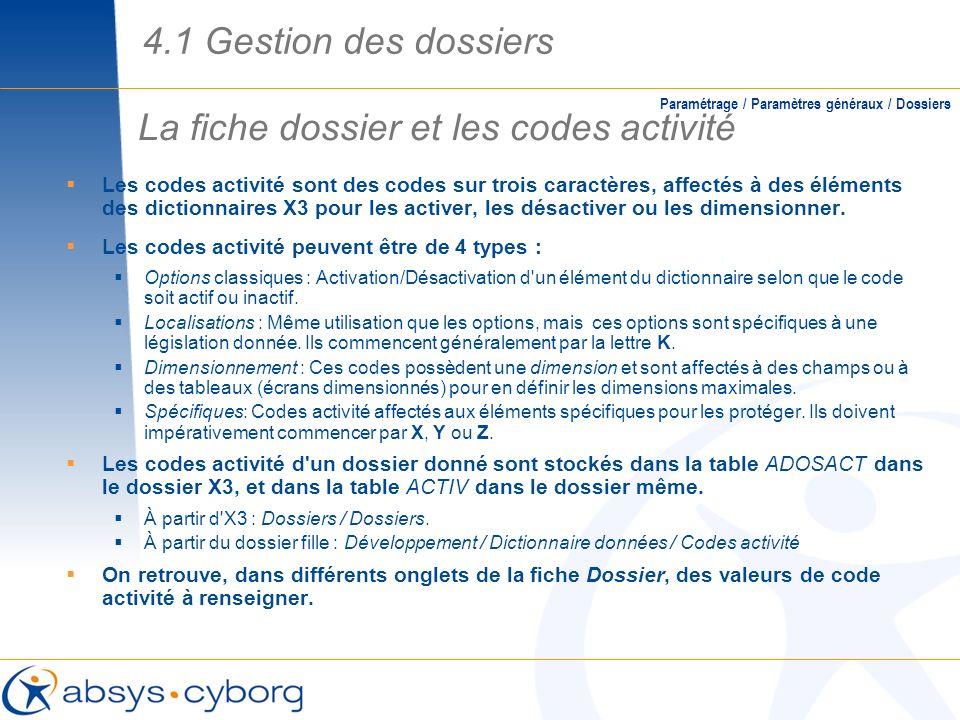 La fiche dossier et les codes activité Paramétrage / Paramètres généraux / Dossiers Les codes activité sont des codes sur trois caractères, affectés à