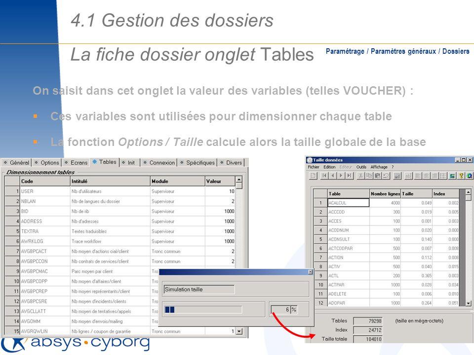 La fiche dossier onglet Tables Paramétrage / Paramètres généraux / Dossiers On saisit dans cet onglet la valeur des variables (telles VOUCHER) : Ces v
