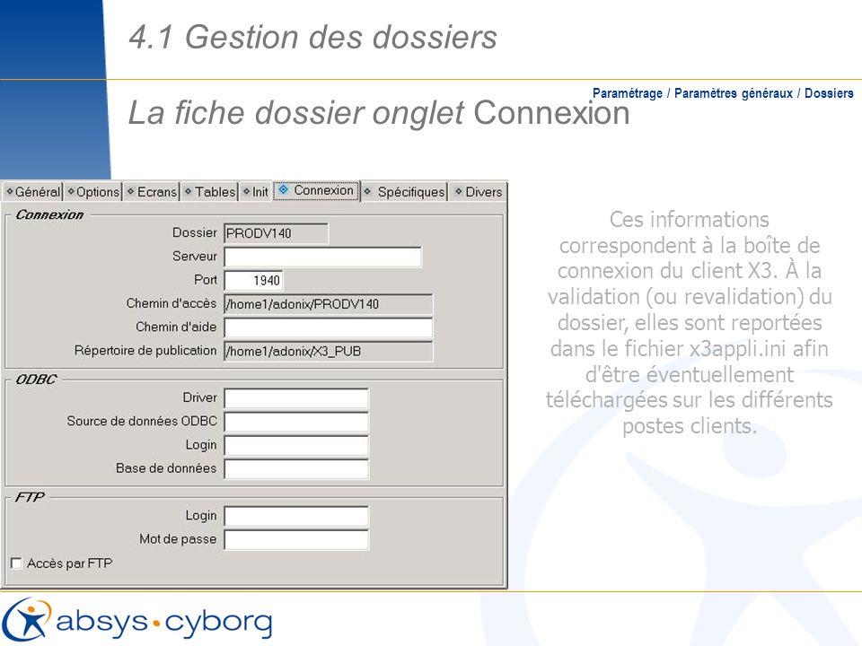 La fiche dossier onglet Connexion Paramétrage / Paramètres généraux / Dossiers Ces informations correspondent à la boîte de connexion du client X3. À