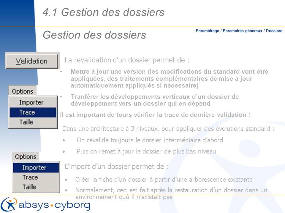 Gestion des dossiers Paramétrage / Paramètres généraux / Dossiers La revalidation dun dossier permet de : Mettre à jour une version (les modifications