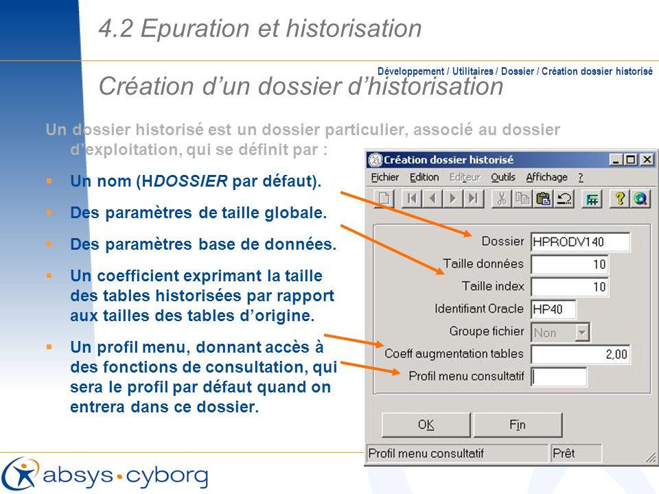 Création dun dossier dhistorisation Développement / Utilitaires / Dossier / Création dossier historisé Un dossier historisé est un dossier particulier