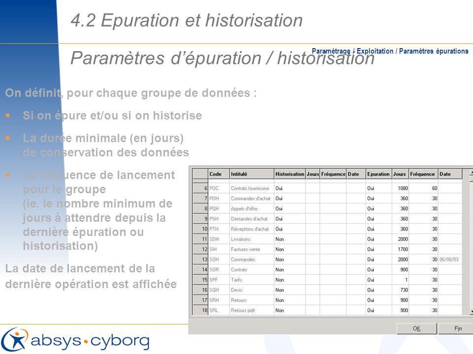Paramètres dépuration / historisation Paramétrage / Exploitation / Paramètres épurations On définit, pour chaque groupe de données : Si on épure et/ou