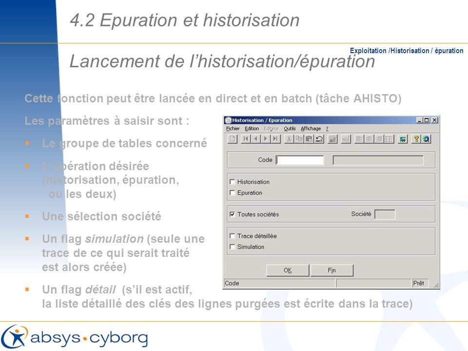 Lancement de lhistorisation/épuration Exploitation /Historisation / épuration Cette fonction peut être lancée en direct et en batch (tâche AHISTO) Les