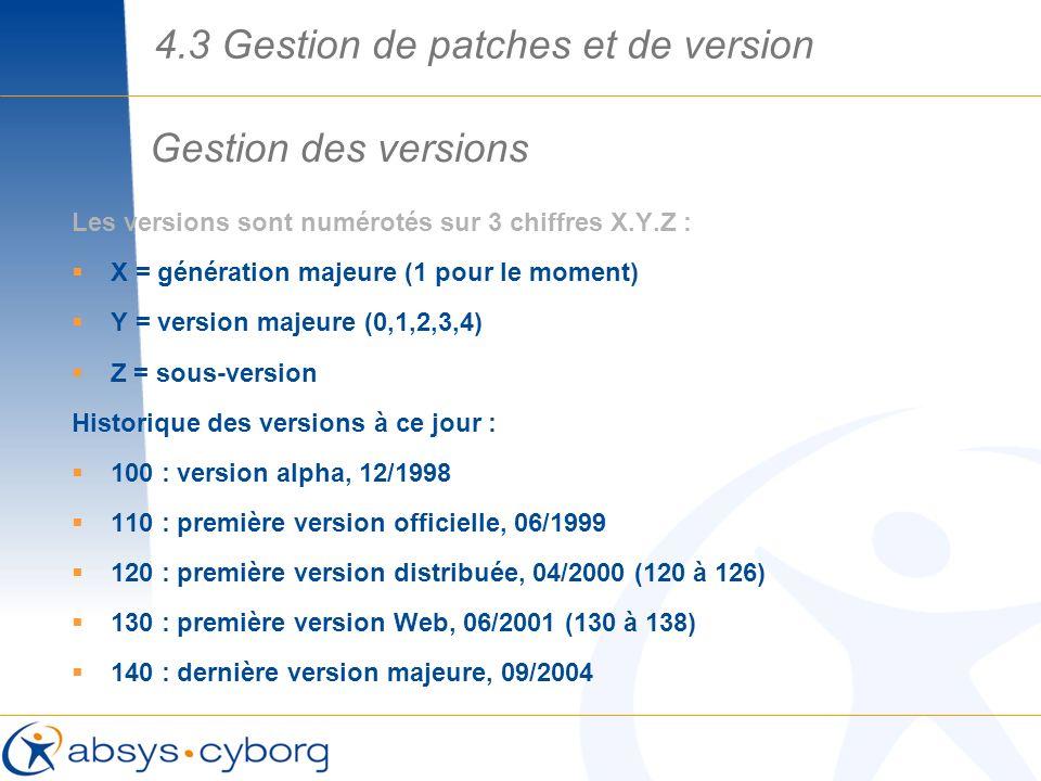 Gestion des versions 4.3 Gestion de patches et de version Les versions sont numérotés sur 3 chiffres X.Y.Z : X = génération majeure (1 pour le moment)