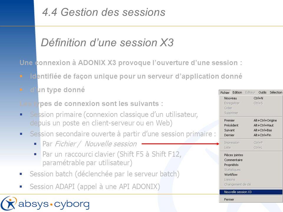 Définition dune session X3 Une connexion à ADONIX X3 provoque louverture dune session : identifiée de façon unique pour un serveur dapplication donné