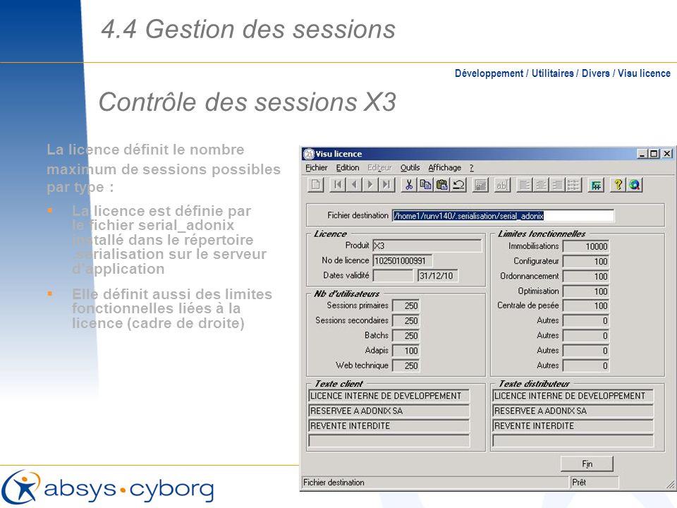 Contrôle des sessions X3 La licence définit le nombre maximum de sessions possibles par type : La licence est définie par le fichier serial_adonix ins