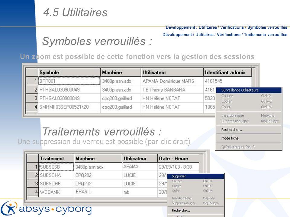 Symboles verrouillés : Un zoom est possible de cette fonction vers la gestion des sessions Développement / Utilitaires / Vérifications / Symboles verr