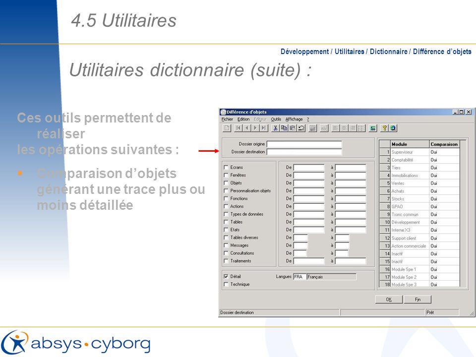Utilitaires dictionnaire (suite) : Développement / Utilitaires / Dictionnaire / Différence dobjets Ces outils permettent de réaliser les opérations su