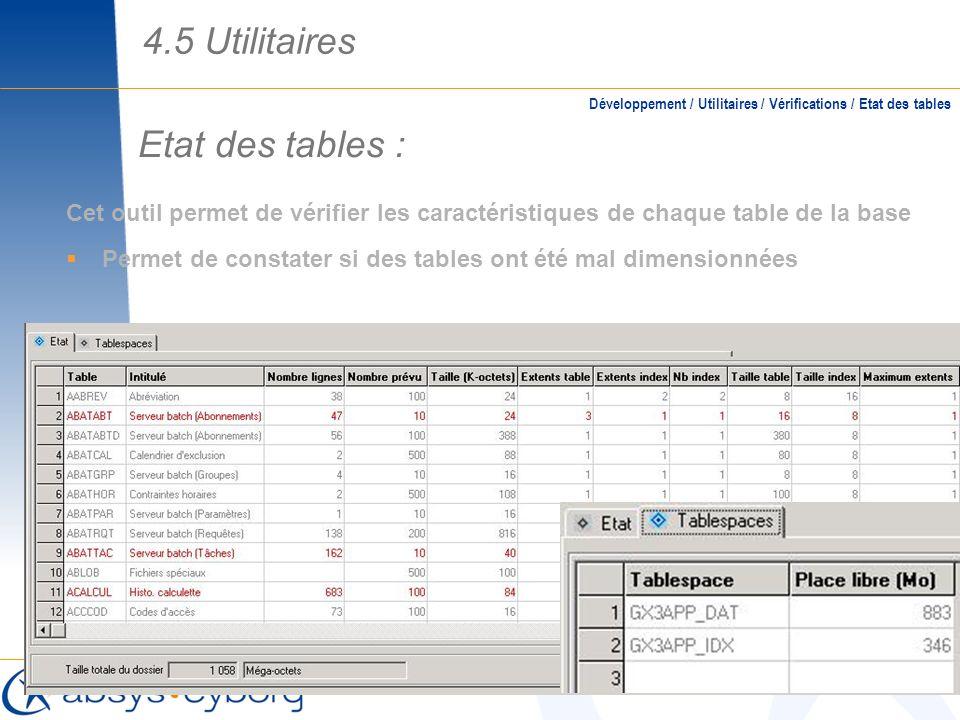 Etat des tables : Cet outil permet de vérifier les caractéristiques de chaque table de la base Permet de constater si des tables ont été mal dimension