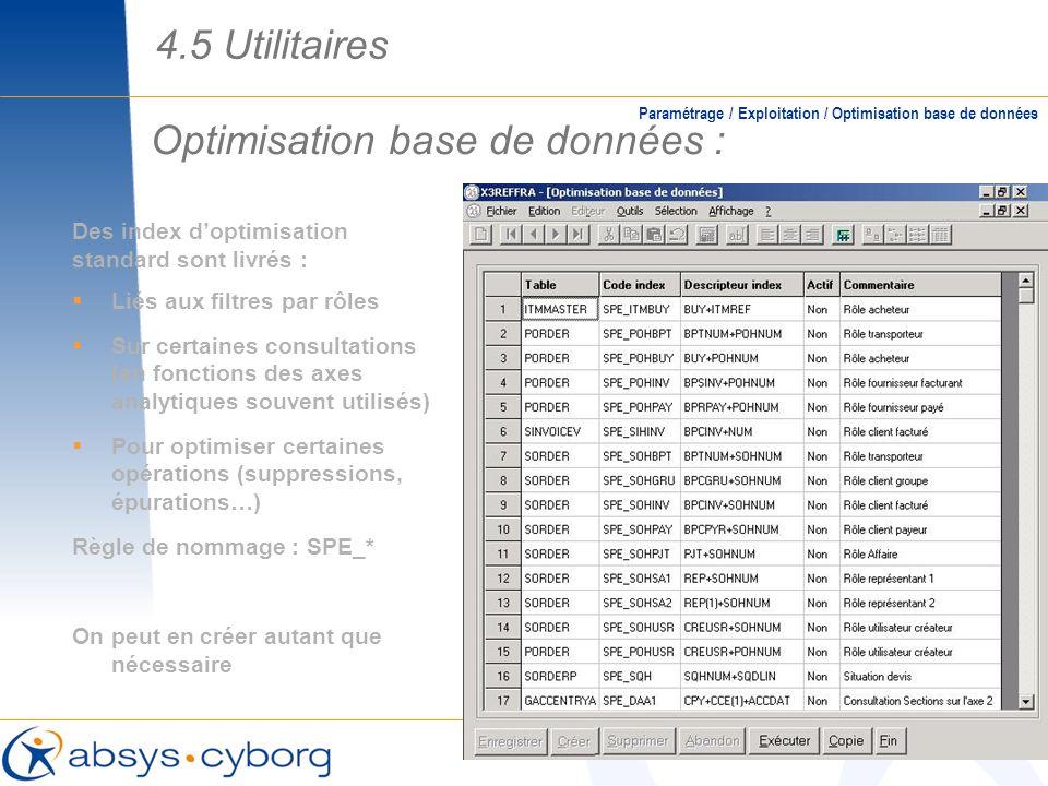 Optimisation base de données : Des index doptimisation standard sont livrés : Liés aux filtres par rôles Sur certaines consultations (en fonctions des