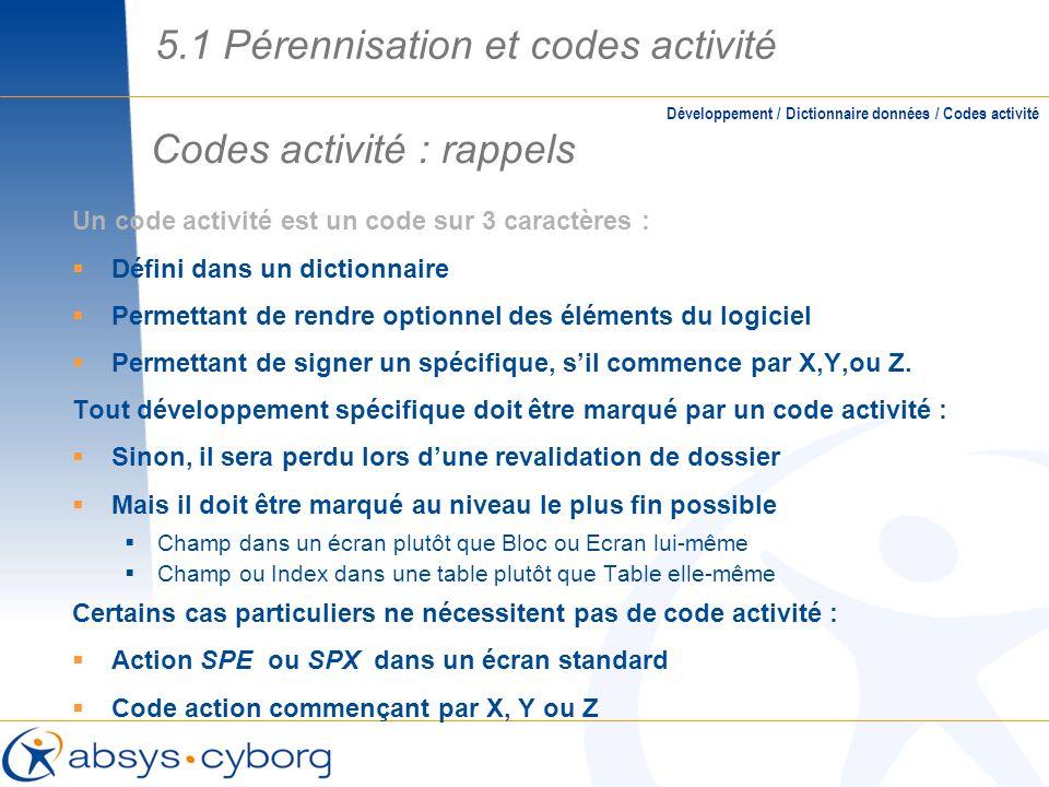 Codes activité : rappels 5.1 Pérennisation et codes activité Un code activité est un code sur 3 caractères : Défini dans un dictionnaire Permettant de