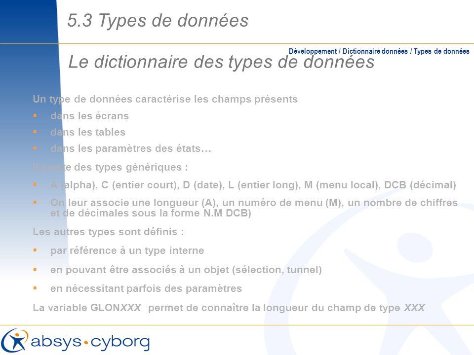 Le dictionnaire des types de données Un type de données caractérise les champs présents dans les écrans dans les tables dans les paramètres des états…