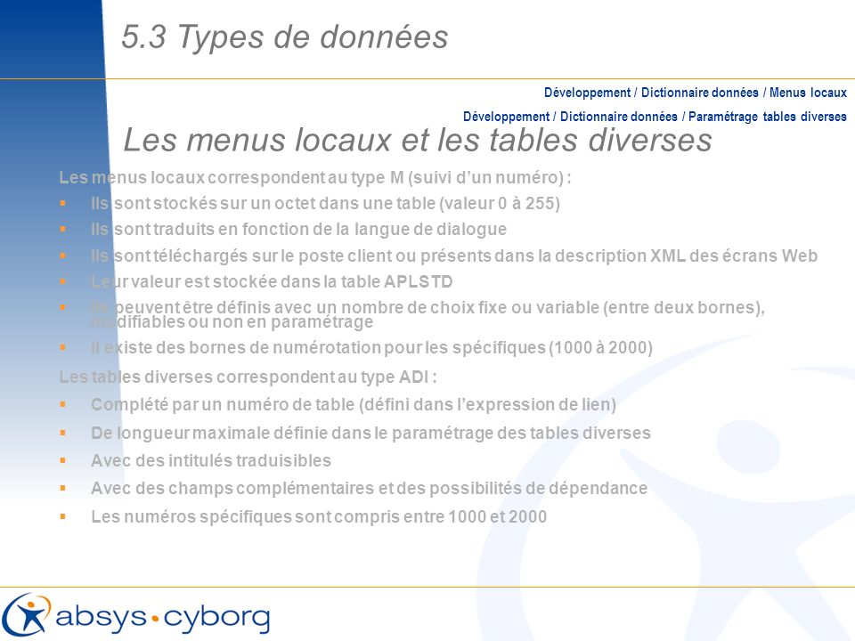 Les menus locaux et les tables diverses Les menus locaux correspondent au type M (suivi dun numéro) : Ils sont stockés sur un octet dans une table (va