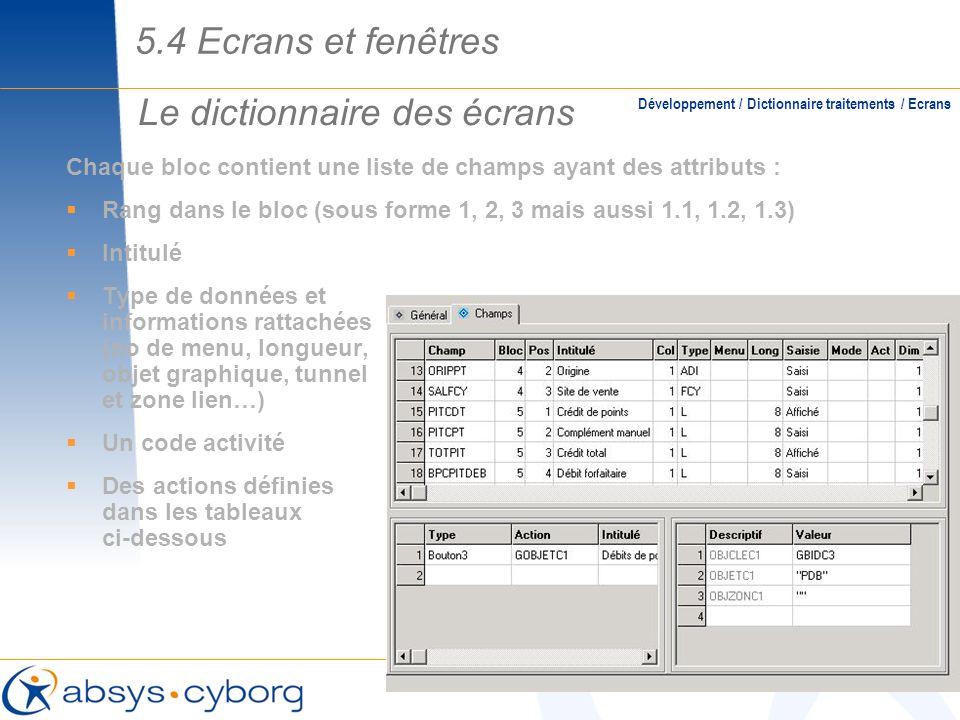 Le dictionnaire des écrans Chaque bloc contient une liste de champs ayant des attributs : Rang dans le bloc (sous forme 1, 2, 3 mais aussi 1.1, 1.2, 1