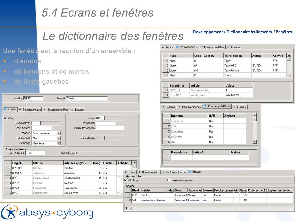 Le dictionnaire des fenêtres Une fenêtre est la réunion dun ensemble : décrans de boutons et de menus de listes gauches Développement / Dictionnaire t