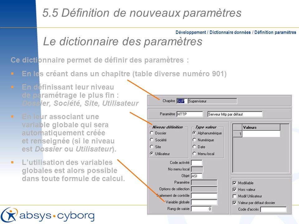 Le dictionnaire des paramètres Ce dictionnaire permet de définir des paramètres : En les créant dans un chapitre (table diverse numéro 901) En définis
