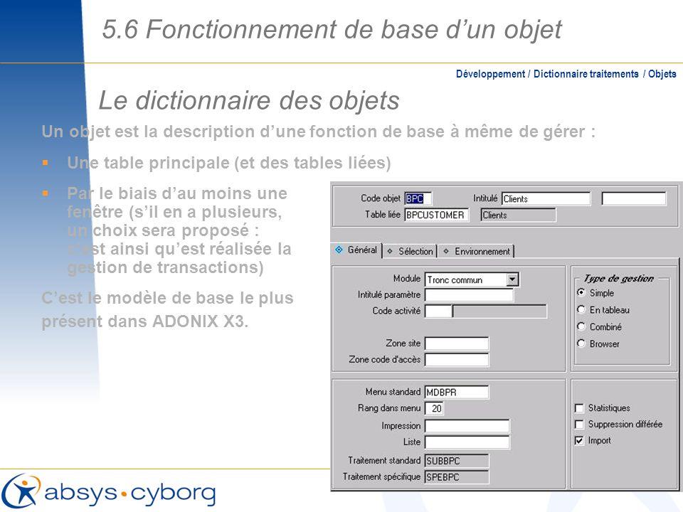 Le dictionnaire des objets 5.6 Fonctionnement de base dun objet Un objet est la description dune fonction de base à même de gérer : Une table principa