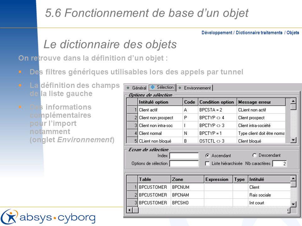 Le dictionnaire des objets On retrouve dans la définition dun objet : Des filtres génériques utilisables lors des appels par tunnel La définition des