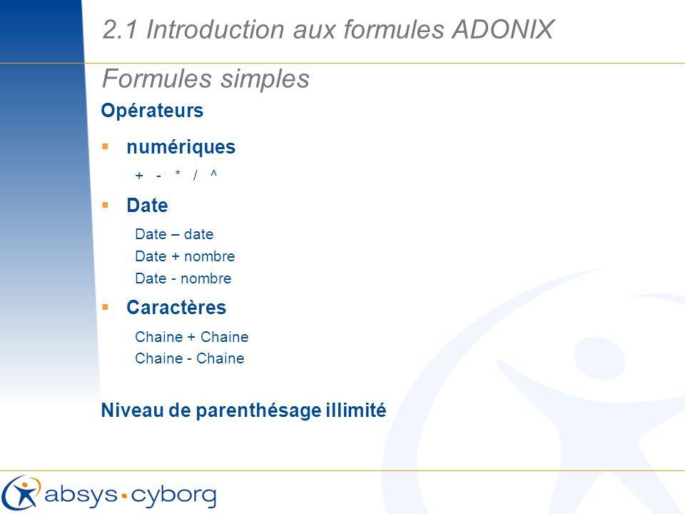 Opérateurs numériques + - * / ^ Date Date – date Date + nombre Date - nombre Caractères Chaine + Chaine Chaine - Chaine Niveau de parenthésage illimit