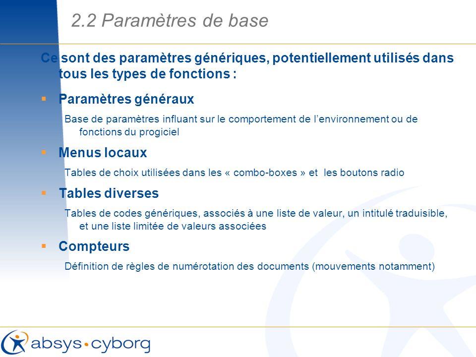 Ce sont des paramètres génériques, potentiellement utilisés dans tous les types de fonctions : Paramètres généraux Base de paramètres influant sur le