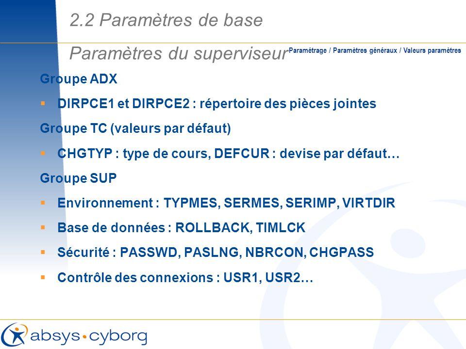 Groupe ADX DIRPCE1 et DIRPCE2 : répertoire des pièces jointes Groupe TC (valeurs par défaut) CHGTYP : type de cours, DEFCUR : devise par défaut… Group