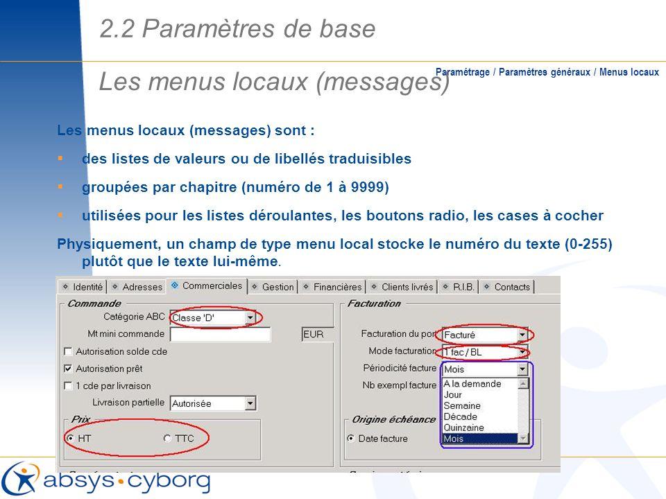 Les menus locaux (messages) sont : des listes de valeurs ou de libellés traduisibles groupées par chapitre (numéro de 1 à 9999) utilisées pour les lis