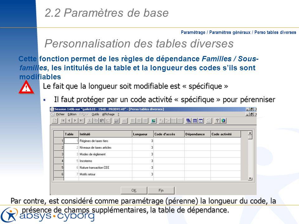 Cette fonction permet de les règles de dépendance Familles / Sous- familles, les intitulés de la table et la longueur des codes sils sont modifiables