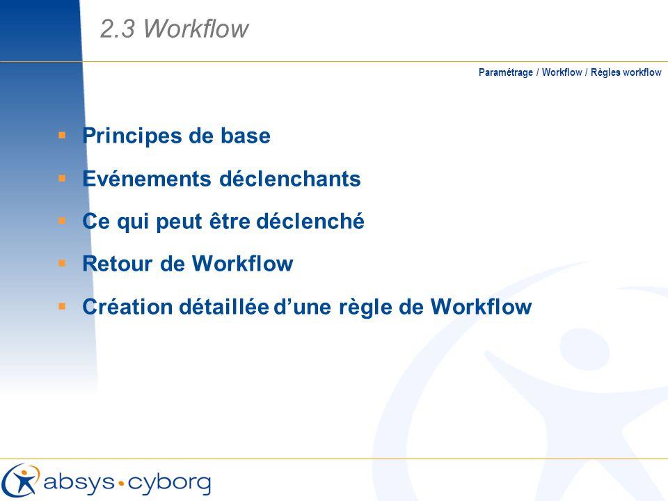 Principes de base Evénements déclenchants Ce qui peut être déclenché Retour de Workflow Création détaillée dune règle de Workflow 2.3 Workflow Paramét